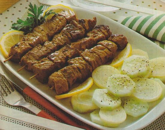 Brochettes de boeuf à la grecque