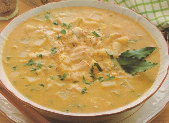 Soupe de cabillaud au curry