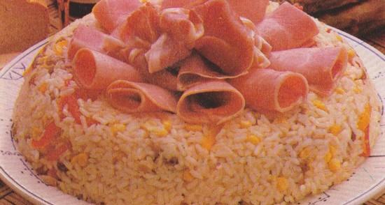 Timbale de riz aux deux jambons